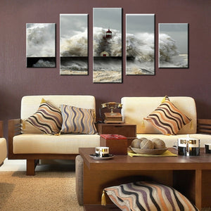 Wall Art Modular Pictures Canvas Prints 5 Pieces Sea Wave Impacts The Lighthouse Seascape Painting