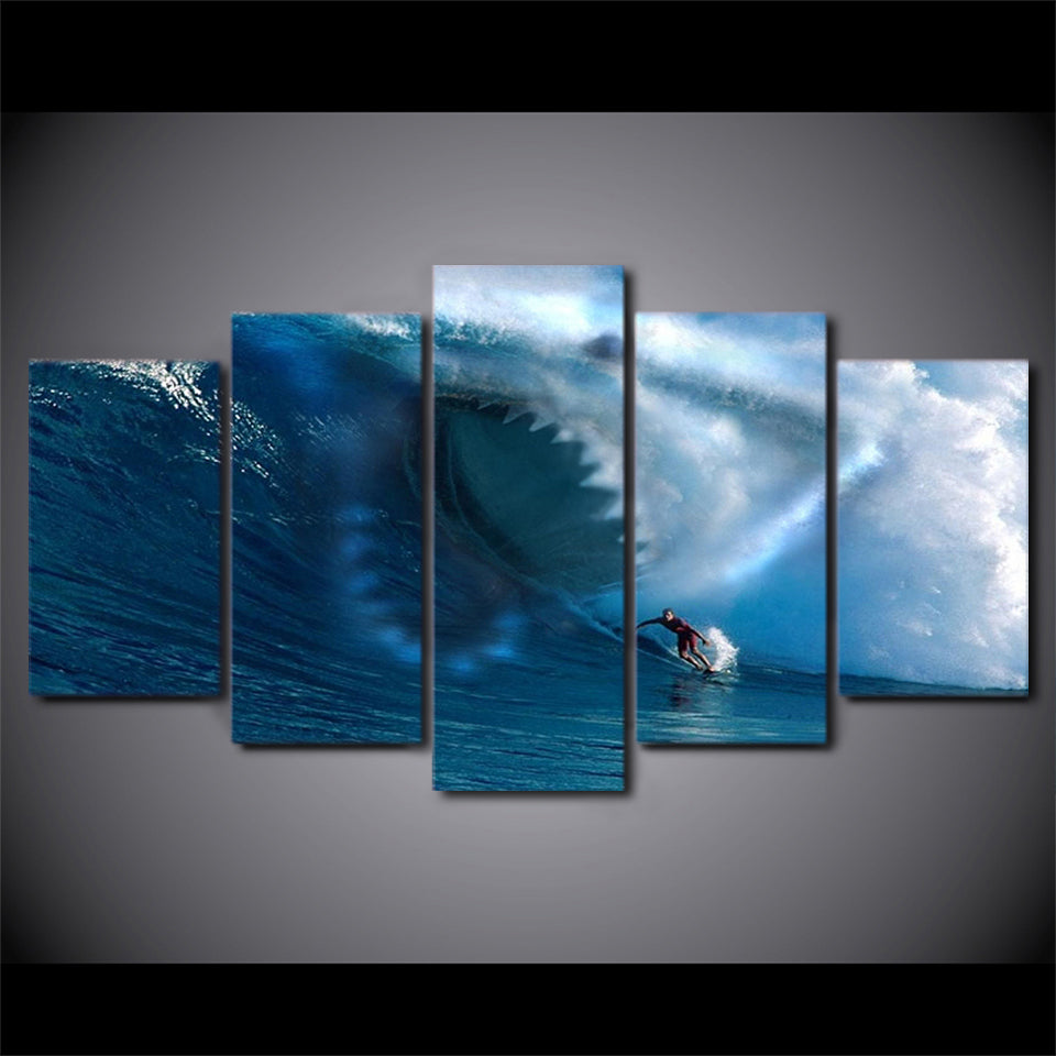 Wall Art Poster Painting 5 Pieces Sharks Surf The Waves Canvas HD Printed Pictures