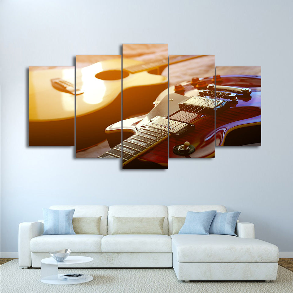 HD Printed Wall Art Pictures 5 Pieces Classical Guitar Canvas Painting Living Room Modular Music Poster