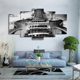 HD Printed Music Pictures 5 Pieces Guitar Canvas Painting Vintage Black White Poster Wall Art