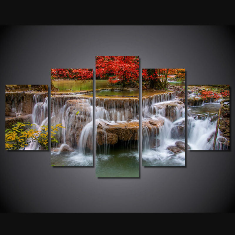 Canvas Painting Wall Art Home Decor 5 Piece Red Maple Tree Lake Waterfall Landscape Poster