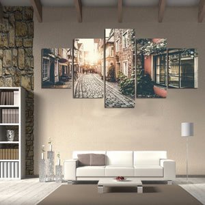 Wall Art Pictures  HD Printed 5 Pieces Modular Poster City Street Landscape Canvas Painting