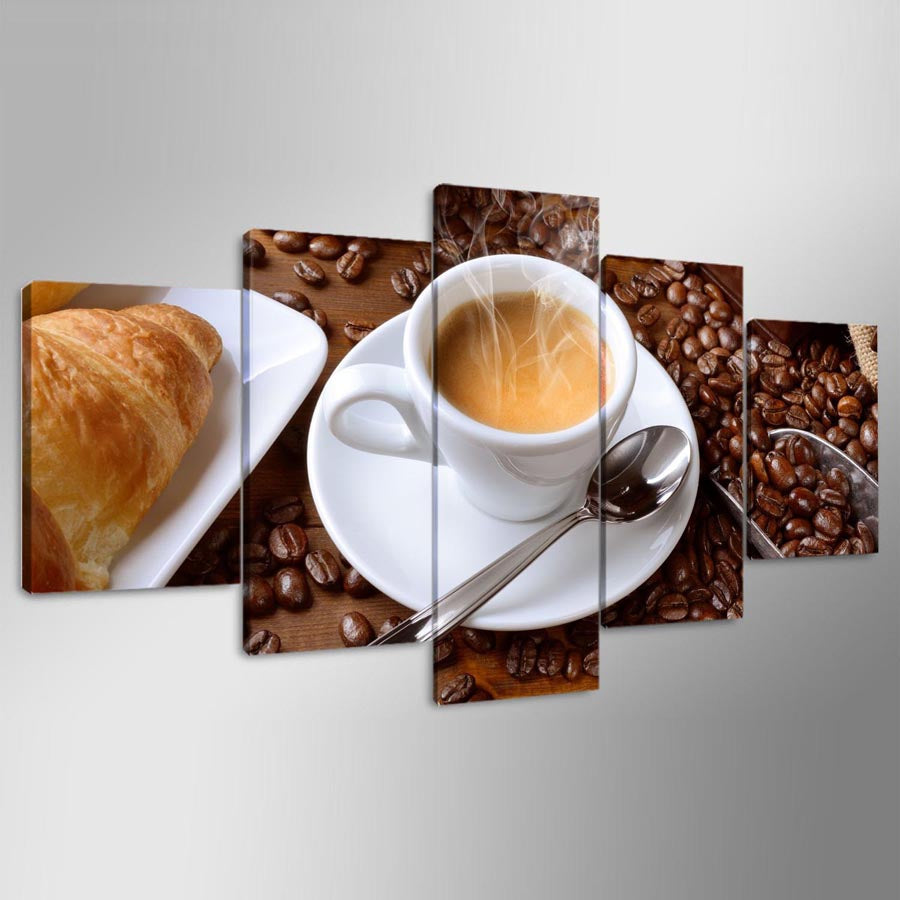 HD Printed Modular Painting Canvas Poster 5 Piece Steaming Coffee Cup Pictures