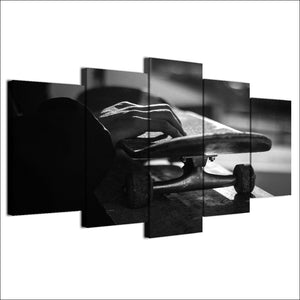 Canvas Modular Poster Modern HD Printed 5 Pieces Wall Art Skateboard Painting Black And White Sports Pictures