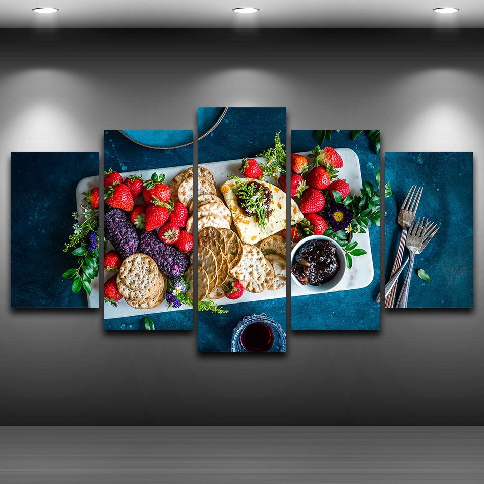 Canvas Pictures HD Printed Kitchen Poster 5 Pieces Fruits Foods Biscuits Painting Wall Art
