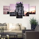Canvas Painting Home Wall Art Modular Pictures 5 Pieces Retro Europe Lighthouse Castle Landscape Poster