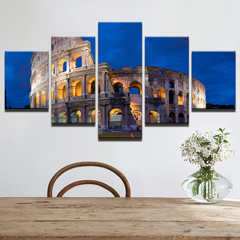 Canvas Wall Art Modular Pictures Castle Landscape HD Printed Poster 5 Piece