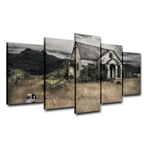 Oil Canvas Painting Wall Art Picture 5 Panel Retro Old House Mountain Landscape Poster Modern HD Printed