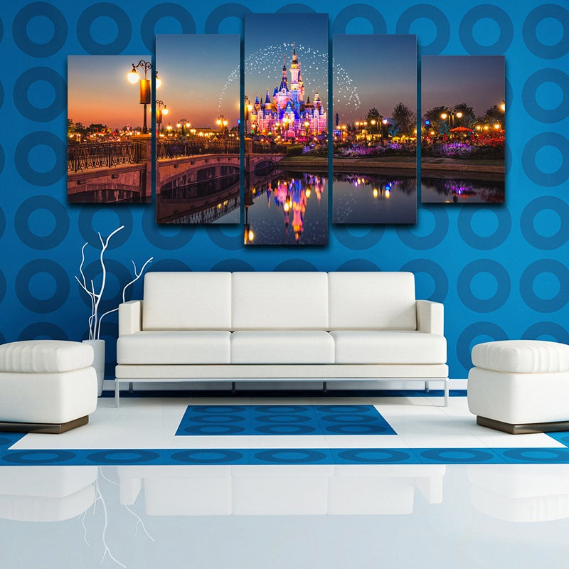 Modern HD Printed Canvas  Wall Art Poster 5 Pieces Amusement Park Castle Night Painting Modular Pictures