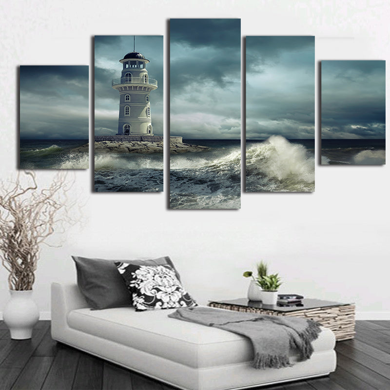 Pictures Modern Home Decor HD Prints Poster 5 Pieces Lighthouse Cloudy Rough Wave Seascape Canvas Painting Wall Art