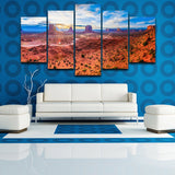 Canvas Poster Wall Art Pictures 5 Panel Hills Brown Field During Daytime View Canyon Painting HD Printed