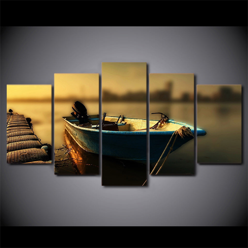 HD Printed Posters Canvas Wall Art Modular Vintage Pier Pictures Home Decor 5 Pieces Floating Fishing Boat Painting