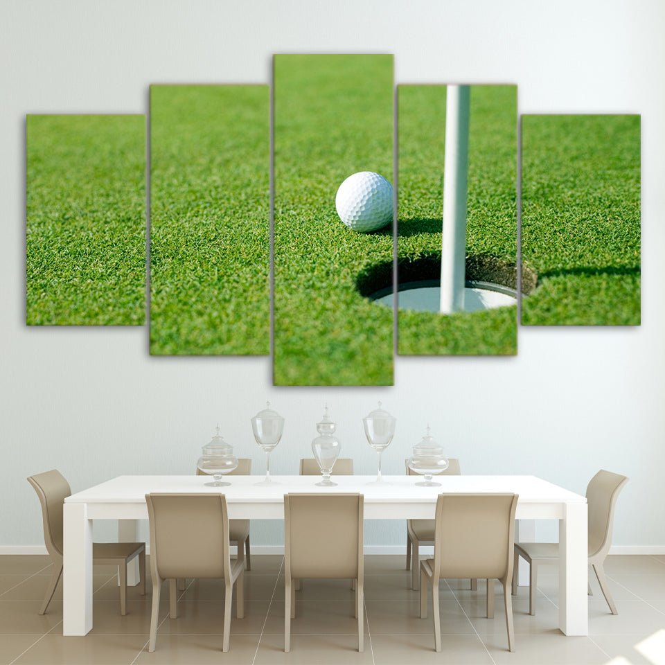 Canvas Painting Wall Art 5 Pieces Green Golf Course Pictures HD Printed Modular Golf Hole Posters