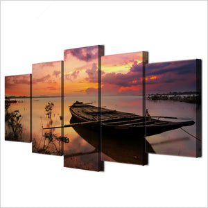 Wall Art Canvas HD Printed Painting Modular Home Decor Pictures 5 Pieces Sunset Boats Lake Landscape Poster