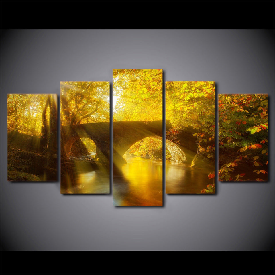 Canvas Painting Modern Art 5 Pieces Sun Shining Bridge Autumn Landscape