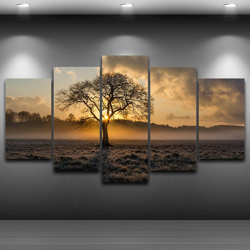 Canvas Painting Vintage Wall Art Printed Pictures 5 Panel Poster Sunrise Tree Landscape Photo