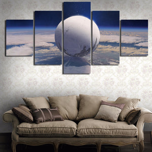 Canvas Abstract Painting Print Modern Picture Wall Art 5 Panel White Earth Space Galaxy Landscape Poster