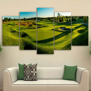 Canvas Poster Wall Art HD Printed Photo Modern 5 Pieces Golf Course Painting Green Hill Pictures