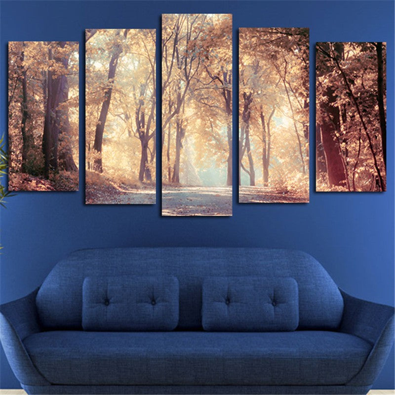 Canvas Modern Wall Art Poster HD Printed Painting 5 Panels Autumn Leaves Tree Landscape Modular Pictures