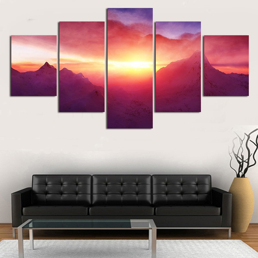 Modern Wall Art Canvas HD Prints Oil Painting Modular Poster 5 Panel Sunset Mountain Landscape Pictures