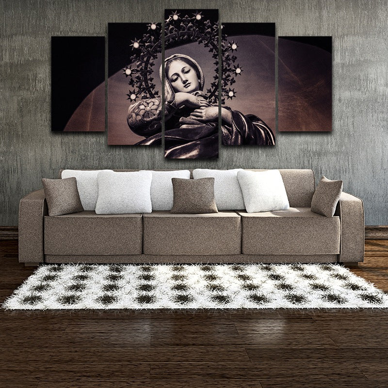 Modern Wall Art Canvas Pictures Posters 5 Pieces Virgin Mary Painting Home Decor HD Printed Photo