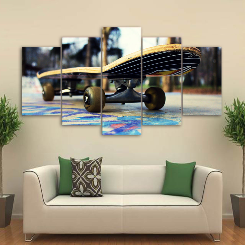 Canvas Pictures HD Printed Sports Posters 5 Pieces Skateboard Painting