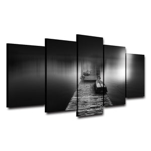 Canvas Painting Modular Pictures Wall Art Home Decor 5 Panels Wooden Pier Bridge Landscape Poster