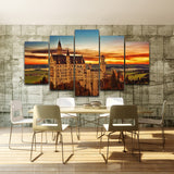 Modern Canvas Wall Art Pictures Modular Oil Painting Photo 5 Panel Castle Landscape HD Printed Poster