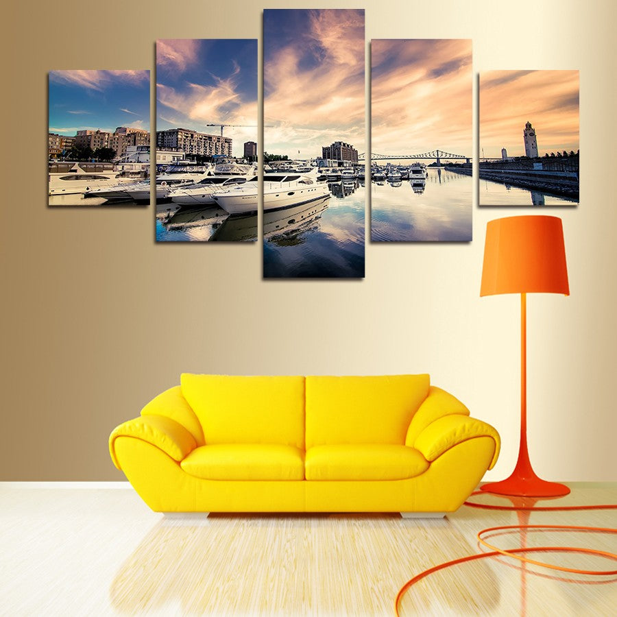 Canvas Pictures Wall Art Painting Home Decor 5 Panels Sea And Ship Yachts Sunset Seascape Poster Modern HD Printed