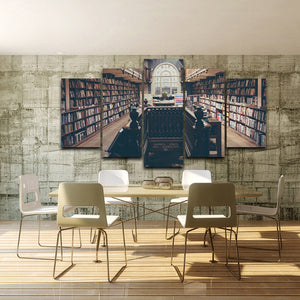 Wall Canvas Art Painting Poster 5 Panel Pictures Antique Study Library Modern HD Printed Photo