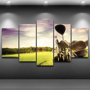 HD Printed Canvas Painting Home Decor Modular Pictures 5 Panels Golf Brassie Landscape Wall Art Posters