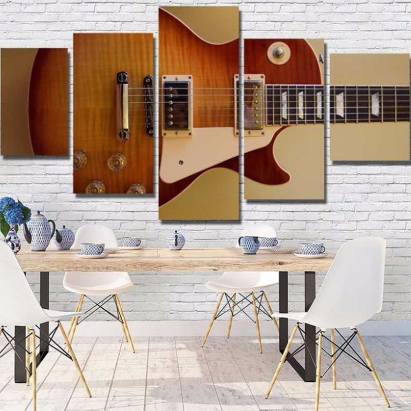 Print Canvas Painting 5 Panel Instruments Guitar Wall Art Canvas Painting Wall Picture