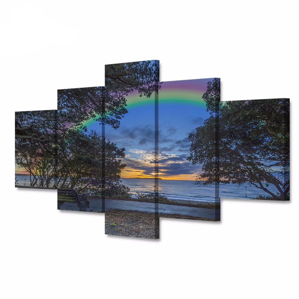 5 Modular Canvas Art British Coast Sunset Landscape Rainbow Poster HD Print on Canvas