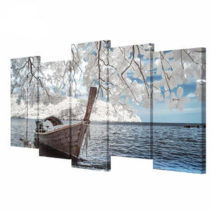 5 Pieces of Canvas Art Magnolia Flower Boat Landscape on Canvas HD Print