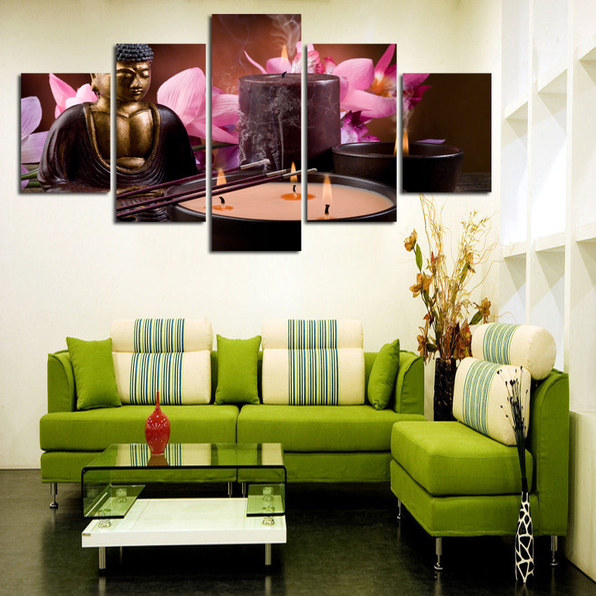 5 Piece Canvas Art Printed Buddha Painting Picture art Wall Canvas Decoration