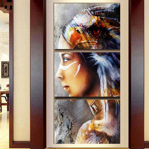 Canvas Painting 3 Panel Native American Indian Girl Feathered  Picture Wall Art Home Decor  Printing Type