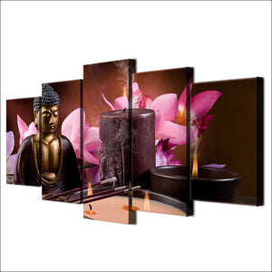HD printed 5 Piece Canvas Art Buddha Wall Art Frame Spa Painting Wall Pictures Home Decor