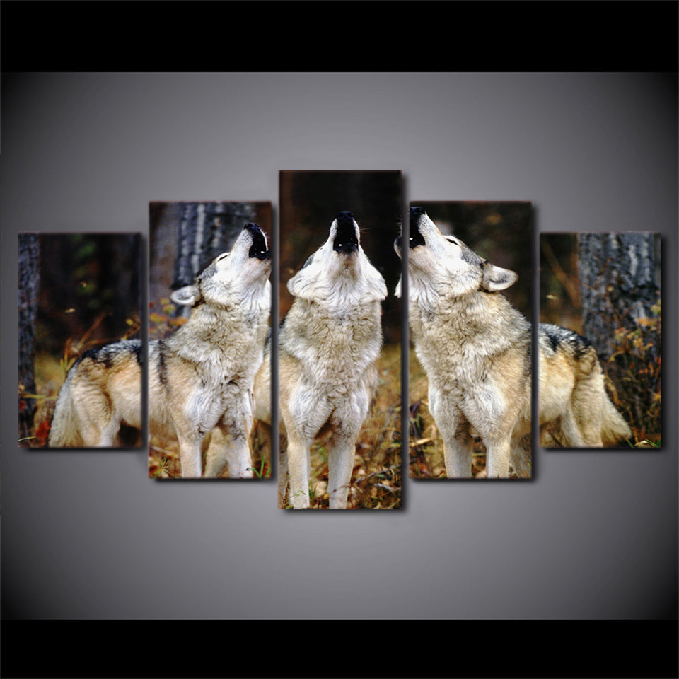 HD Printed 5 Piece Canvas Art White Wolf Group Paintings Framed Wall Pictures Decoration