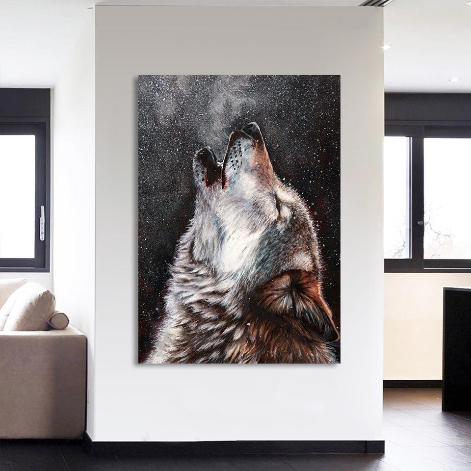 HD Printed 1 Piece Canvas Art Howling Wolf Painting Abstract Modular Wall Pictures