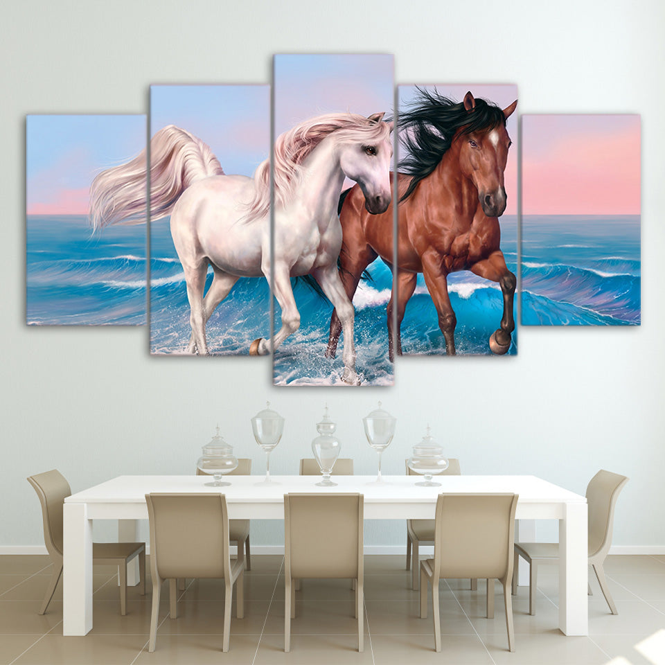 HD Printed 5 Piece Canvas Art Galloping Black White Horses Painting Wall Pictures