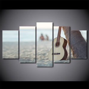 HD Printed 5 Piece Canvas Art Classical Guitar Painting Music Instrument Wall Pictures