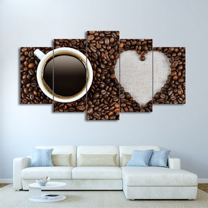 HD Printed 5 Piece Canvas Art Love Coffee Beans Painting Wall Pictures