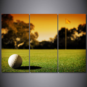 HD Printed 3 Piece Canvas Art Golf Course Grass Sunset Painting Wall Pictures
