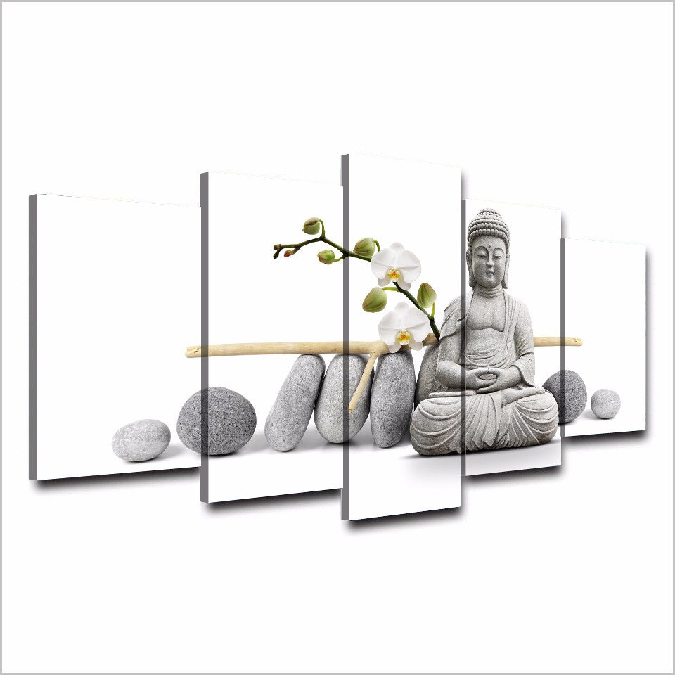 HD Print 5 Piece Canvas Art Zen Buddha With Orchid Painting Buddha Canvas Prints