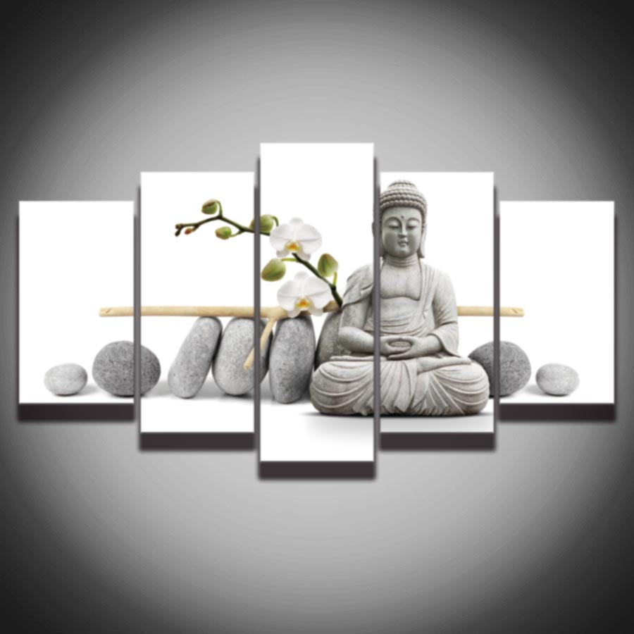 5 Panel HD Printed Modular Canvas Painting Buddha Print Art Picture