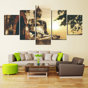 Buddhism Buddha Canvas Painting Antique and Sun Picture Wall Art Home Decoration