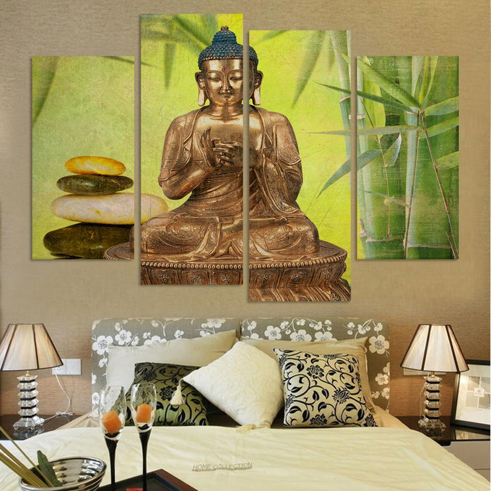 Large Size Buddha Canvas Painting For Interior Room Decoration Bamboo And Stone