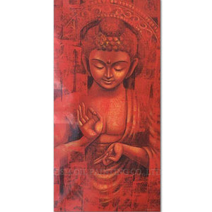 Artist Handmade Long  Buddha Oil Painting on Canvas Red Buddha Portrait