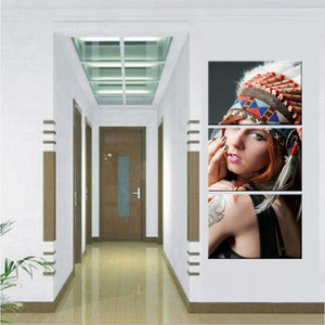 HD Printed 3 Piece Art American Indian Canvas Feathered Painting Wall Pictures