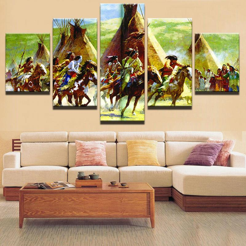 Large Poster HD Printed Painting 5 Panel Indians Canvas Print Art Frame Wall Art Modular Pictures